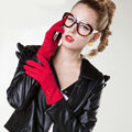 Allfond women touch screen gloves stretch cotton button winter warm solid color gloves - Red