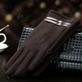 Allfond women touch screen gloves stretch cotton winter warm business casual crystal gloves - Coffee
