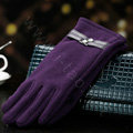 Allfond women touch screen gloves stretch cotton winter warm business casual crystal gloves - Purple