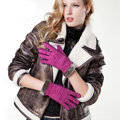 Allfond women winter cold-proof plus velvet warm genuine pigskin clipping leather gloves - Rose