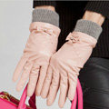 Allfond women winter waterproof cold-proof bow-knot wool genuine goatskin leather gloves M - Pink