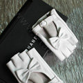 Fashion Women Bowknot Genuine Leather Sheepskin Half-finger Short Gloves Driving - White