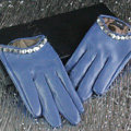 Fashion Women Crystal Genuine Leather Sheepskin Half Palm Short Gloves Size S - Purple