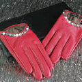Fashion Women Crystal Genuine Leather Sheepskin Half Palm Short Gloves Size L - Red