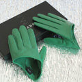 Fashion Women Genuine Leather Sheepskin Half Palm Short Gloves Size S - Apple green