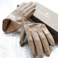 Fashion Women Genuine Leather Sheepskin Half Palm Short Gloves Size L - Champagne