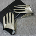 Fashion Women Genuine Leather Sheepskin Half Palm Short Gloves Size L - Gold black