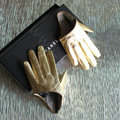 Fashion Women Genuine Leather Sheepskin Half Palm Short Gloves Size L - Gold