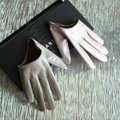 Fashion Women Genuine Leather Sheepskin Half Palm Short Gloves Size L - Khaki