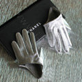 Fashion Women Genuine Leather Sheepskin Half Palm Short Gloves Size L - Silver