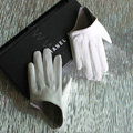 Fashion Women Genuine Leather Sheepskin Half Palm Short Gloves Size S - White