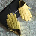 Fashion Women Genuine Leather Sheepskin Half Palm Short Gloves Size L - Yellow