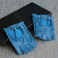 Fashion Women Genuine Leather Sheepskin Half-finger Short Gloves Driving - Blue