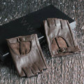 Fashion Women Genuine Leather Sheepskin Half-finger Short Gloves Driving - Brown