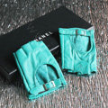 Fashion Women Genuine Leather Sheepskin Half-finger Short Gloves Driving - Green