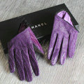 Fashion Women Snake pattern Genuine Leather Sheepskin Half Palm Short Gloves - Purple