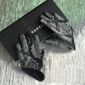 Fashion Women Snake pattern Genuine Leather Sheepskin Half Palm Short Gloves Size L - Black
