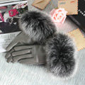 Fashion women winter warm thick fox fur cuff genuine sheepskin leather Gloves size L - Grey