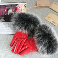 Fashion women winter warm thick fox fur cuff genuine sheepskin leather Gloves size L - Red