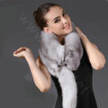 Fox fur scarf fashion Women Whole fox fur shawl winter warm tippet neck wrap - Light gray