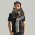 Fox fur scarf fashion men Whole fox fur shawl winter warm tippet neck wrap - Dark grey