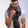Luxury fox fur scarf Whole fox fur shawl fashion men winter warm tippet neck wrap - Silver blue