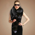 Luxury fox fur scarf fashion Women Whole fox fur shawl winter warm tippet neck wrap - Silver gray