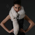 Luxury fox fur scarf fashion Women Whole fox fur shawl winter warm tippet neck wrap - White black