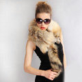 Luxury fox fur scarf fashion Women Whole fox fur shawl winter warm tippet neck wrap - Yellow
