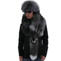 Luxury fox fur scarf fashion men Whole fox fur shawl winter warm tippet neck wrap - Silver blue
