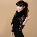 Mink fur scarf fashion Women Whole mink fur shawl winter warm tippet neck wrap - Black