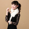 Mink fur scarf fashion Women Whole mink fur shawl winter warm tippet neck wrap - White
