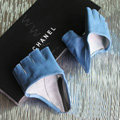 Women Genuine Leather Lambskin Runway Punk Rocker Biker Fingerless Half Short Gloves - Blue
