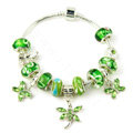 925 Silver Charm Bracelets for Women Butterfly Green Crystal Murano Glass Beads Jewelry