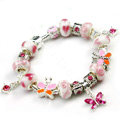 925 Silver Charm Bracelets for Women Butterfly Pink Crystal Murano Glass Beads Jewelry