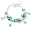 925 Silver Charm Bracelets for Women Flower Blue Crystal Murano Glass Beads Jewelry