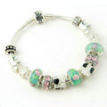 925 Silver Charm Bracelets for Women Flower Green Crystal Murano Glass Beads Jewelry