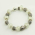 925 Silver Charm Bracelets for Women White Crystal Murano Glass Beads Jewelry