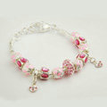925 Silver Charm Pan Bracelets for Women Pink Crystal Murano Glass Beads Jewelry