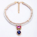 Crystal Gemstone White Pearl charm Pendant Woven rope Choker Statement Necklace Women Jewelry