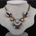 Exaggeration Women Choker Crystal Gem GP Sunflower Bib Necklace Jewelry - Multicolor