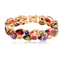 Fashion 18K Rose Gold Plated Mona Lisa Zircon Bracelet for Women Multicolor CZ Stones Jewelry