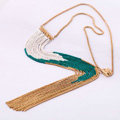 Fashion Retro Punk long Tassel Pendant Choker Gold Chain Statement Necklace Women Jewelry