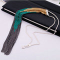 Fashion Retro Punk long Tassel Pendant Choker Silver Chain Statement Necklace Women Jewelry