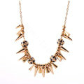 Fashion Unique Punk Rivet Alloy Pendant Choker Bib Statement Necklace Women Jewelry - Gold