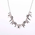 Fashion Unique Punk Rivet Alloy Pendant Choker Bib Statement Necklace Women Jewelry - Silver