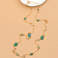 Fashion Women Luxury Choker Crystal Gem long Necklace Jewelry 14K gold plated - Blue
