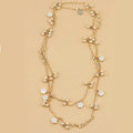 Fashion Women Luxury Choker Crystal Pearl Flower long Necklace Jewelry gold plated - White