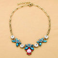 Luxury Blue Crystal Alloy Gemstone Flower Pendant Choker Bib Statement Necklace Women Jewelry