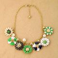 Luxury Crystal Alloy enamel Flower Pendant Choker Bib Statement Necklace Women Jewelry - Green